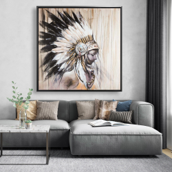 Framed 48 x 48 - Indian with an headdress chief