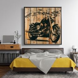 Framed 48 x 48 - Motorcycle on wood background