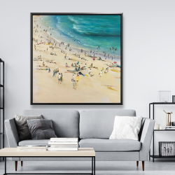 Framed 48 x 48 - Summer crowd at the beach