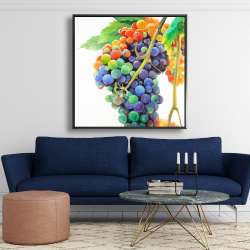 Framed 48 x 48 - Colorful bunch of grapes