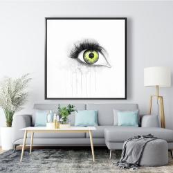 Framed 48 x 48 - Green eye in watercolor