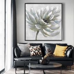 Framed 48 x 48 - White chrysanthemum