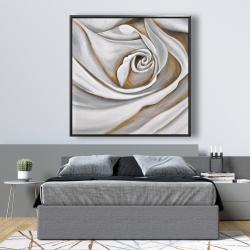 Framed 48 x 48 - White rose closeup