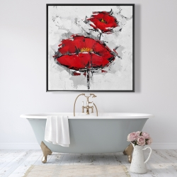 Framed 48 x 48 - Texturized red poppies