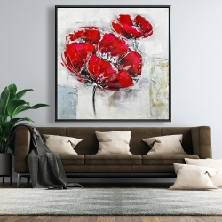Framed 48 x 48 - Abstract and texturized red flowers