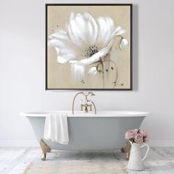 Framed 48 x 48 - White abstract wild flower