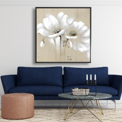 Framed 48 x 48 - White abstract wild flowers