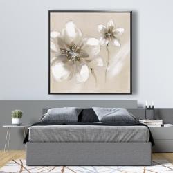 Framed 48 x 48 - Two cream flowers