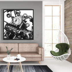 Framed 48 x 48 - Realistic motorcycle