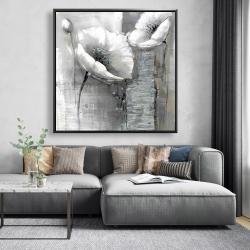 Framed 48 x 48 - Industrial monochrome flowers