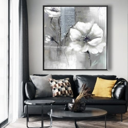 Framed 48 x 48 - Monochrome and silver flowers
