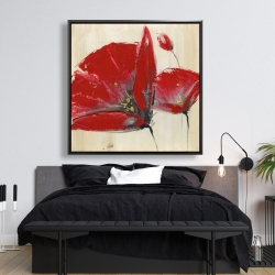 Framed 48 x 48 - Three red flowers