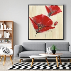 Framed 48 x 48 - Three red flowers with texture