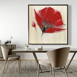 Framed 48 x 48 - Two red flowers