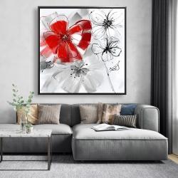 Framed 48 x 48 - Red & gray flowers