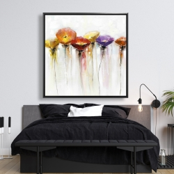 Framed 48 x 48 - Multiple colorful abstract flowers