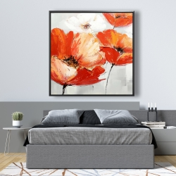 Framed 48 x 48 - Red wild flowers in the wind