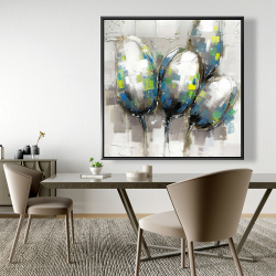 Framed 48 x 48 - Abstract blue tulips
