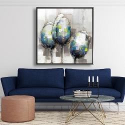 Framed 48 x 48 - Three abstract tulips