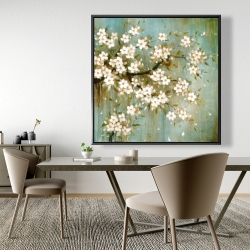 Framed 48 x 48 - White cherry blossom