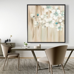 Framed 48 x 48 - White flowers on wood