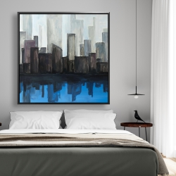 Framed 48 x 48 - View of a blue city