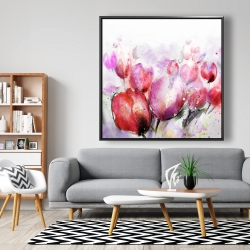 Framed 48 x 48 - Abstract blurry tulips