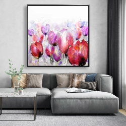 Framed 48 x 48 - Pink tulips field