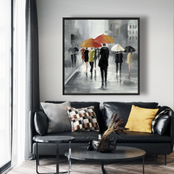 Framed 48 x 48 - Street scene with umbrellas