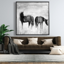 Framed 48 x 48 - Horses silhouettes in the mist