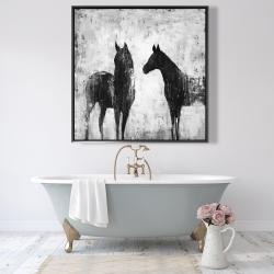 Framed 48 x 48 - Black and white horses