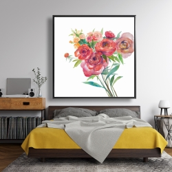 Framed 48 x 48 - Watercolor bouquet of flowers