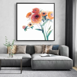 Framed 48 x 48 - Watercolor flowers