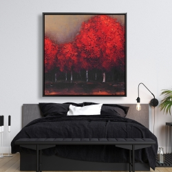 Framed 48 x 48 - Red trees by a dark day