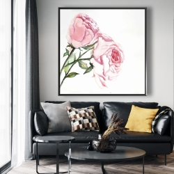 Framed 48 x 48 - Watercolor pink roses
