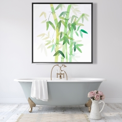 Framed 48 x 48 - Watercolor bamboo with leaves