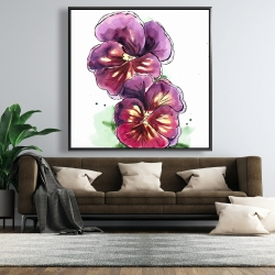 Framed 48 x 48 - Two blossoming orchid with wavy petals