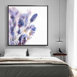 Framed 48 x 48 - Watercolor lavender flowers with blur effect
