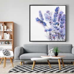 Framed 48 x 48 - Watercolor lavender flowers