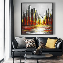 Framed 48 x 48 - Abstract red skyline
