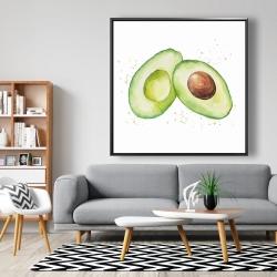 Framed 48 x 48 - Watercolor open avocado