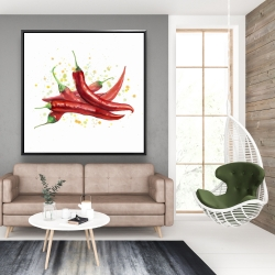 Framed 48 x 48 - Red hot peppers