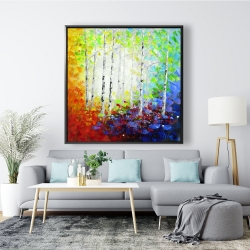 Framed 48 x 48 - Colorful forest
