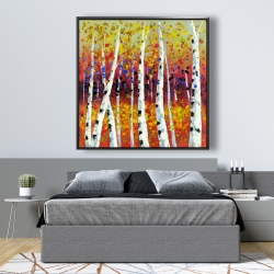 Framed 48 x 48 - Colored birches