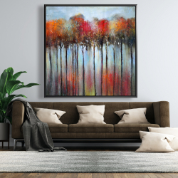 Framed 48 x 48 - Abstract and colorful forest