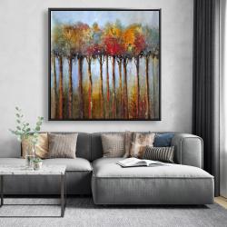 Framed 48 x 48 - Colorful leaves trees