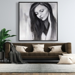 Framed 48 x 48 - Realistic woman portrait