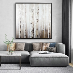 Framed 48 x 48 - Abstract white birches