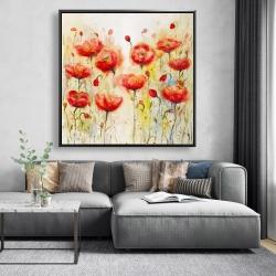 Framed 48 x 48 - Red flowers garden