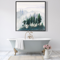 Framed 48 x 48 - Mountains landscape in watercolor